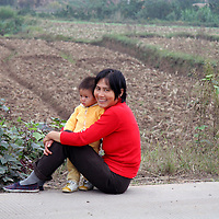 Asia, China, Yichang. Young mother and child in rural China.