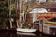 """Maidenhead, Berkshire, United Kingdom, Monday, 12/04/2021, General View,  Tender/Dingy/Rowing Boat', """"Trout'',  Boulters Lock, Ray Mill Island, River Thames, Thames Valley, [Mandatory Credit; Pete Spurrier],"""