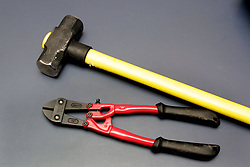 Tools recovered by police in the aftermath of the abortive raid on the Millennium Dome November 2000. Four men were found guilty at the Old Bailey in London of plotting to carry out the robbery.