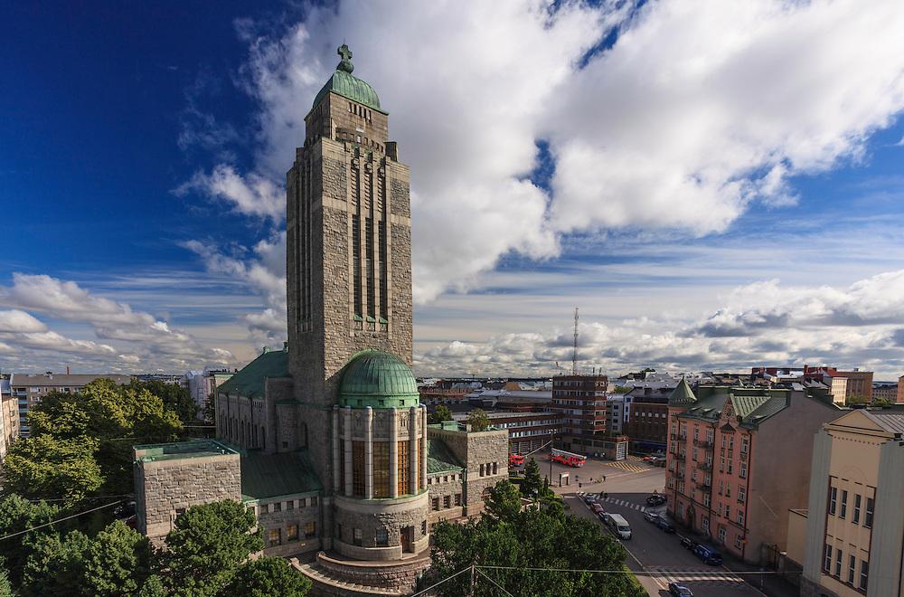 Kallio Church in Helsinki, Finland. The grey granite Kallio church from 1912 is one of the most prominent landmarks of Helsinki.