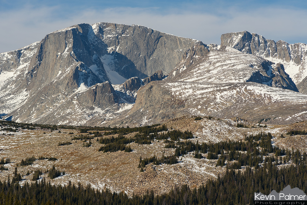 Cloud Peak is the highest peak in the Bighorn Mountains at 13,167'. It also holds the last remaining glacier in the range, which can barely be seen below the granite wall. Because the peak is flat-topped, it's not too difficult to climb, although it still requires a 25 mile roundtrip hike.