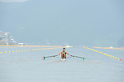 Chungju, South Korea. Sunday Heats, MEX. LM1X. Alan Eber ARMENTA VEGA. Moves away from the start on the opening day of the 2013 FISA World Rowing Championships, Tangeum Lake International Regatta Course. 10:28:18  Sunday  25/08/2013 [Mandatory Credit. Peter Spurrier/Intersport Images]