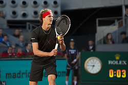 May 13, 2018 - Madrid, Madrid, Spain - ALEXANDER ZVEREV serves in a match against DOMINIC THIEM during the final of Mutua Madrid Open 2018 - ATP in Madrid. (Credit Image: © Patricia Rodrigues via ZUMA Wire)