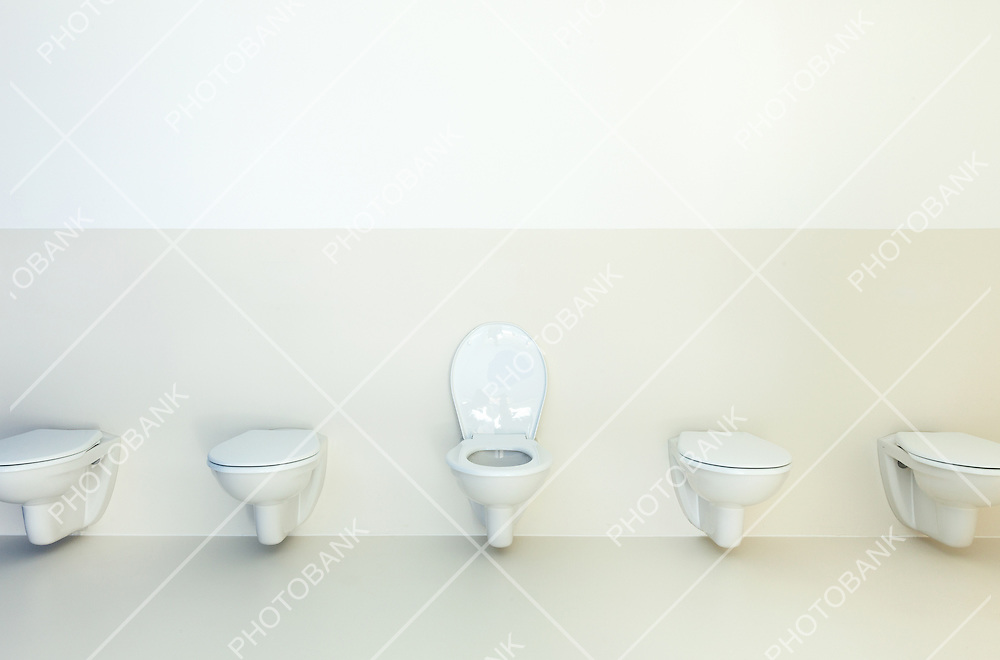 new architecture, public bathroom, toilets in a row