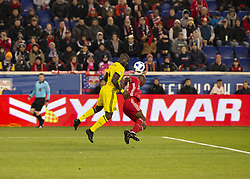 STYLEPREPENDBradley Wright_Phillips (99) of Red Bulls & Jonathan Mensah (4) of Columbus Crew SC fight for ball during 2nd leg MLS Cup Eastern Conference semifinal game at Red Bul Arena Red Bulls won 3 - 0 agregate 3 - 1 and progessed to final (Credit Image: © Lev Radin/Pacific Press via ZUMA Wire)