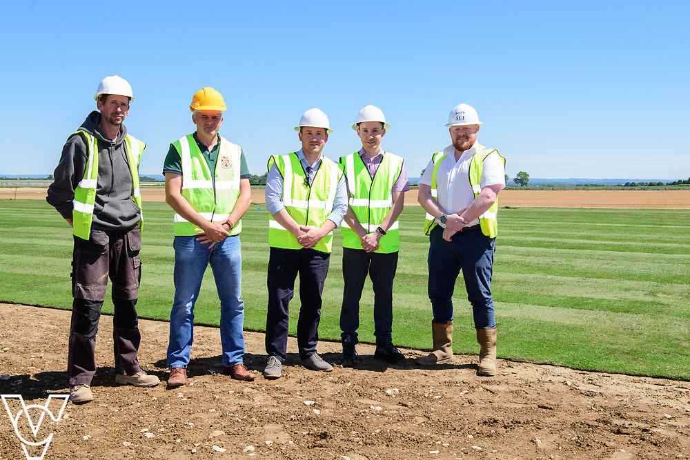 Work has been progressing on Lincoln City's new training ground in Scampton, near Lincoln.  Pictured from left, John Guest (Njord Design & Build project manager), Darren Curtis (Lincoln City operations manager/safety officer), Oliver Fytche-Taylor (West Lindsey District Council's head of planning), Ian Elliott (West Lindsey District Council's senior development management officer) and Steve Jones (Njord Design & Build managing director).<br /> <br /> Picture: Chris Vaughan Photography for Lincoln City<br /> Date: June 22, 2018