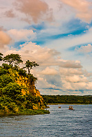 Tour boats on the Victoria Nile River in Murchison Falls National Park, Uganda.