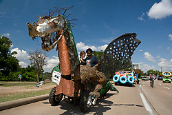 "Stock photo of the Houston Art Car Parade 2012 - Will Hill's ""Oscar the Friendly Dragon"" by Julian Luna"