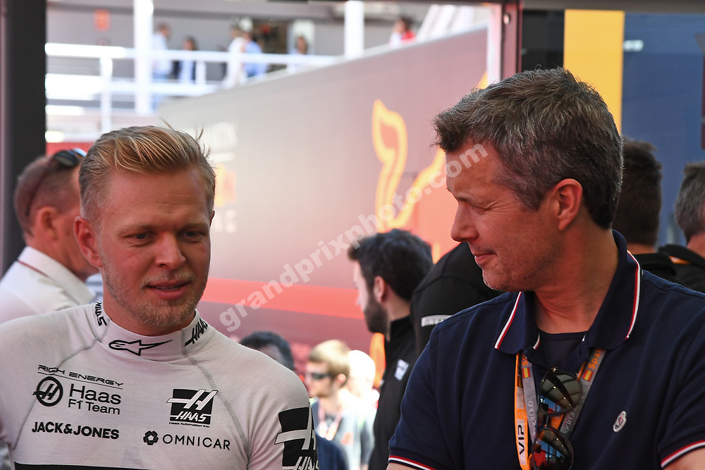 Kevin Magnussen (Haas-Ferrari) and Crown Prince Frederik of Denmark after qualifying for the 2019 Spanish Grand Prix at the Circuit de Barcelona-Catalunya. Photo: Grand Prix Photo