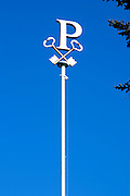 "The Petrus ""P"" on the flag pole with Saint Peter's keys at the Chateau Petrus in Pomerol, owned by the Moueix family"