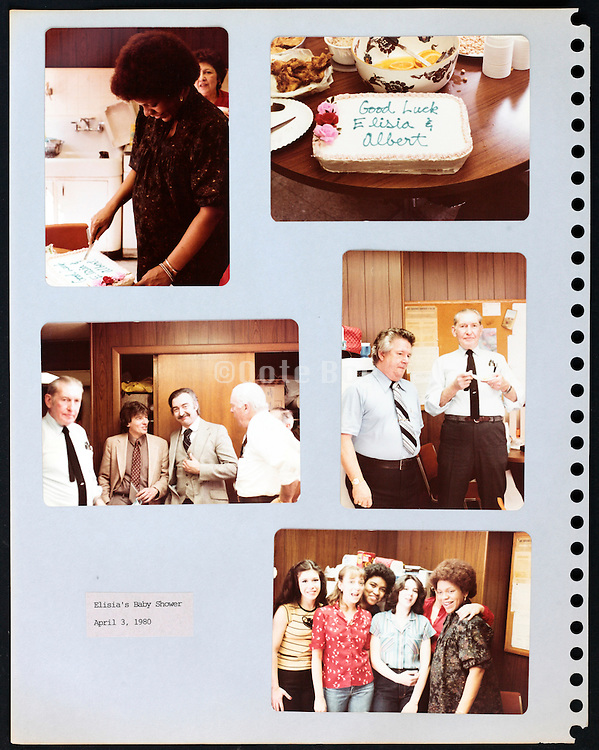 page from a photo album with company office workers celebrating a baby shower USA 1980