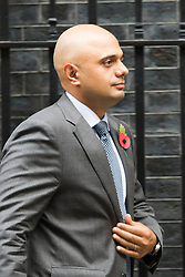 Downing Street, London, October 27th 2015.  Business Secretary Sajid Javid leaves 10 Downing Street after attending the weekly cabinet meeting.
