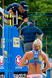 Simona Fabjan of Slovenia talking to referee at A1 Beach Volleyball Grand Slam tournament of Swatch FIVB World Tour 2010, on July 28, 2010 in Klagenfurt, Austria. (Photo by Matic Klansek Velej / Sportida)