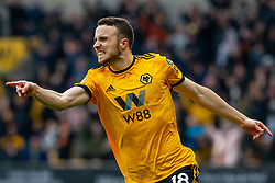 January 19, 2019 - Wolverhampton, England, United Kingdom - Diogo Jota of Wolverhampton Wanderers celebrates after scoring the opening goal  during the Premier League match between Wolverhampton Wanderers and Leicester City at Molineux, Wolverhampton, UK. On Saturday 19th January 2019. (Credit Image: © Mark Fletcher/NurPhoto via ZUMA Press)
