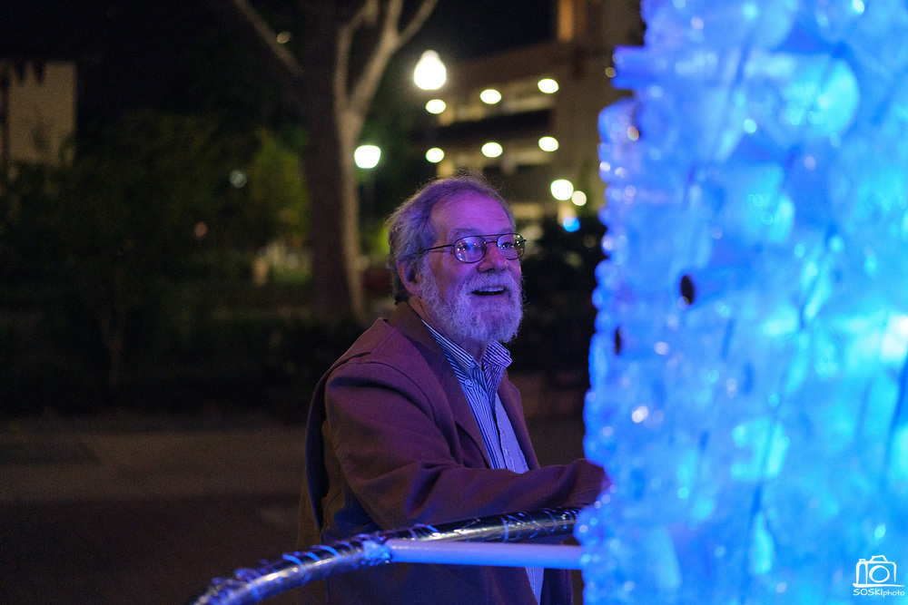 SCU Presents Re-Cyclone, and interactive sculpture made of recycled water bottles and LED lights, is one display at Santa Clara University in Santa Clara, California, on May 10, 2019. (Stan Olszewski/SOSKIphoto)