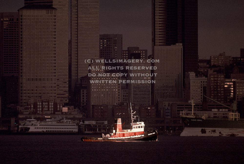 Image of a tugboat at the Seattle waterfront, Seattle, Washington, Pacific Northwest by Randy Wells