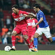 Turkey's Colin Kazım RICHARDS (L) during their UEFA EURO 2012 Qualifying round Group A soccer match Turkey betwen Azerbaijan at TT Arena in Istanbul October 11, 2011. Photo by TURKPIX