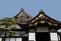 21. Nijo Castle 二条城 or Nijo-jo was completed in 1603 as theresidence ofthe first Tokugawa shogun of the Edo Period. Even though the Tokugawa Shogunate moved its power base and capital to Edo Castle in Tokyo they maintained this Nijo Palace in Kyoto as a reminder of who was in control. The entire castle grounds are surrounded by stone walls and moats. The palace survives in its original form with separate buildings which are connected by zigzag corridors with 'nightingale floors' that squeak when stepped upon as a security measure against intruders.