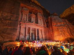 Petra By Night candlelit tourist event at The Treasury (Al Khazneh), Petra, Jordan, UNESCO