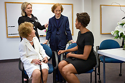 """File photo : July 12, 2011<br /> """"Chuck Kennedy covered the funeral of former First Lady Betty Ford at St. Margaret's Episcopal Church in Palm Desert, California. In attendance were three former First Ladies as well as the current First Lady, all shown here backstage, from left: Nancy Reagan, Hillary Rodham Clinton, Rosalynn Carter and Michelle Obama."""" Mandatory Credit: Chuck Kennedy - White House via CNP/ABACAPRESS.COM"""