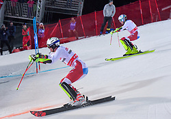 19.02.2019, Stockholm, SWE, FIS Weltcup Ski Alpin, Parallelslalom, Herren, im Bild Ramon Zenhaeusern (SUI), Daniel Yule (SUI) // Ramon Zenhaeusern of Switzerland Daniel Yule of Switzerland in action during the men's parallel slalom of FIS ski alpine world cup at the Stockholm, Sweden on 2019/02/19. EXPA Pictures © 2019, PhotoCredit: EXPA/ Nisse Schmidt<br /> <br /> *****ATTENTION - OUT of SWE*****