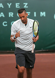 April 13, 2018 - Houston, TX, U.S. - HOUSTON, TX - APRIL 13:  Nick Kyrgios of Australia reacts after winning a point in the match against Ivo Karlovic of Croatia during the Quarterfinal round of the Men's Clay Court Championship on April 13, 2018 at River Oaks Country Club in Houston, Texas.  (Photo by Leslie Plaza Johnson/Icon Sportswire) (Credit Image: © Leslie Plaza Johnson/Icon SMI via ZUMA Press)