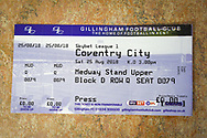 SkyBET League 1 EFL logo on a match ticket ahead of the EFL Sky Bet League 1 match between Gillingham and Coventry City at the MEMS Priestfield Stadium, Gillingham, England on 25 August 2018.