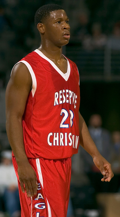 """2/11/06 -- Omaha, Ne.Reserve Christian's Demond """"Tweety"""" Carter  at The Omaha Shootout, a High School Basketball tournament featuring some of the best prospects at the Qwest Center Omaha...(Photo by Chris Machian/Prarie Pixel Group)."""