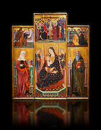 Gothic painted Panel Altarpiece of the Virgin Suckling the Child, Saint Clare and Saint Anthony the Abbott by the Workshop of Llorenc Saragossa. Tempera and gold leaf on wood. Date Last quarter of 14th century. Dimesions 207 x 187.5 x 10 cm. From Xelva (Valencia). National Museum of Catalan Art, Barcelona, Spain, inv no: 064027-CJT .<br /> <br /> If you prefer you can also buy from our ALAMY PHOTO LIBRARY  Collection visit : https://www.alamy.com/portfolio/paul-williams-funkystock/gothic-art-antiquities.html  Type -     MANAC    - into the LOWER SEARCH WITHIN GALLERY box. Refine search by adding background colour, place, museum etc<br /> <br /> Visit our MEDIEVAL GOTHIC ART PHOTO COLLECTIONS for more   photos  to download or buy as prints https://funkystock.photoshelter.com/gallery-collection/Medieval-Gothic-Art-Antiquities-Historic-Sites-Pictures-Images-of/C0000gZ8POl_DCqE