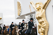 Traditional Sorbian Easter celebration on Sunday: More than 400 of so called Osterreiter (Easter Riders) will ride from village to village to sing and announce the resurrection of Jesus Christ.<br /> This tradition dates back at least to 1541. <br /> <br /> Ralbitz, Wittichenau Area, District of Bautzen in Upper Lusatia, Saxonia, Germany on April 1, 2018.
