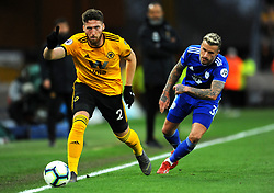 Joe Bennett of Cardiff City competes with Matt Doherty of Wolverhampton Wanderers- Mandatory by-line: Nizaam Jones/JMP - 02/03/2019 - FOOTBALL - Molineux - Wolverhampton, England -  Wolverhampton Wanderers v Cardiff City - Premier League