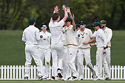 CD players celebrate the wicket of Chad Bowes of Canterbury. Canterbury vs. Central Districts Day 2, 1st round of the 2021-2022 Plunket Shield cricket competition at Hagley Oval, Christchurch, on Sunday 24th October 2021.<br /> © Copyright Photo: Martin Hunter/ www.photosport.nz