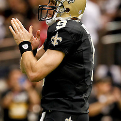 November 25, 2012; New Orleans, LA, USA; New Orleans Saints quarterback Drew Brees (9) against the San Francisco 49ers prior to a game at the Mercedes-Benz Superdome. The 49ers defeated the Saints 31-21. Mandatory Credit: Derick E. Hingle-US PRESSWIRE