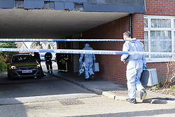 © Licensed to London News Pictures. 16/02/2018. London, UK. Police forensic officers and firefighters outside Garenne Court in Warren Road, Waltham Forest. A murder investigation has been launched after a man was found dead suffering from multiple injuries yesterday, 15th February. A 38 year old woman and a 63 year old man were arrested on suspicion of murder in the early hours of this morning.  Photo credit: Vickie Flores/LNP