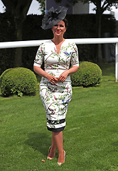 A female racegoer poses during ladies day of the 2018 Investec Derby Festival at Epsom Downs Racecourse, Epsom.