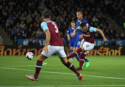 Mauro Zarate of West Ham United (R) scores his sides first goal  - Mandatory byline: Jack Phillips/JMP - 07966386802 - 22/09/2015 - SPORT - FOOTBALL - Leicester - King Power Stadium - Leicester City v West Ham United - Capital One Cup Round 3