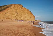 Sandstone cliffs and beach West Bay, Bridport, Dorset, England, UK