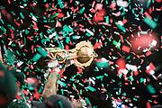 20190605/ adhocFOTOS/ URUGUAY/ MONTEVIDEO/ LUB/ Liga Uruguaya de Basket/ Cancha Antel Arena. Aguada enfrenta a Malvin por el septimo encuentro de las finales de la Liga Uruguaya de Basquetbol 2019. Aguada resulto campeon.<br /> En la foto:Aguada campeón de la Liga Urguguaya de Basketbol 2019 en el estadio Antel Arena. Foto: Abraham Tores/ adhocFOTOS