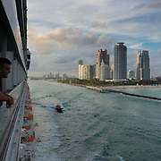 South Beach Miami and port entrance from departing cruising ship
