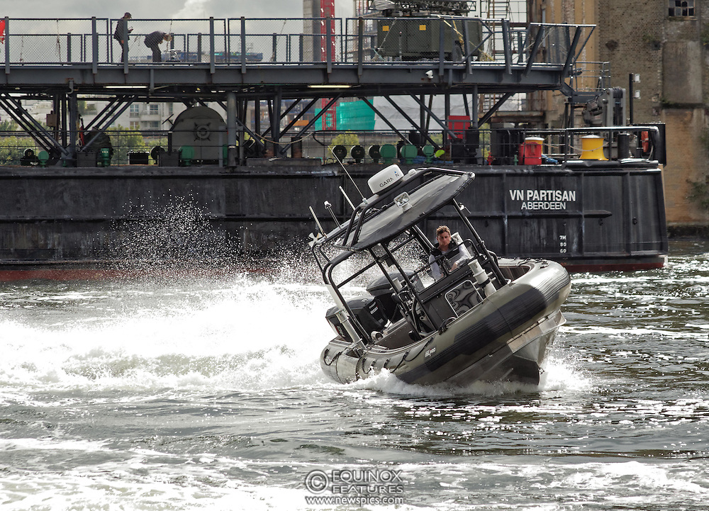 London, United Kingdom - 18 September 2015<br /> Boats on display in Operation MARICAP waterborne demonstration at the defence and security exhibition DSEI at ExCeL, Woolwich, London, England, UK.<br /> (photo by: EQUINOXFEATURES.COM)<br /> <br /> Picture Data:<br /> Photographer: Equinox Features<br /> Copyright: ©2015 Equinox Licensing Ltd. +448700 780000<br /> Contact: Equinox Features<br /> Date Taken: 20150918<br /> Time Taken: 14252030<br /> www.newspics.com