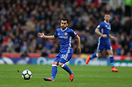 Pedro of Chelsea in action. Premier league match, Stoke City v Chelsea at the Bet365 Stadium in Stoke on Trent, Staffs on Saturday 18th March 2017.<br /> pic by Andrew Orchard, Andrew Orchard sports photography.
