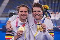 TOKIO -  Ceremony, keeper Vincent Vanasch (Bel)  en  Loic van Doren met goud, ,  na  de hockey finale mannen, Australie-Belgie (1-1), België wint shoot outs en is Olympisch Kampioen,  in het Oi HockeyStadion,   tijdens de Olympische Spelen van Tokio 2020.   COPYRIGHT KOEN SUYK