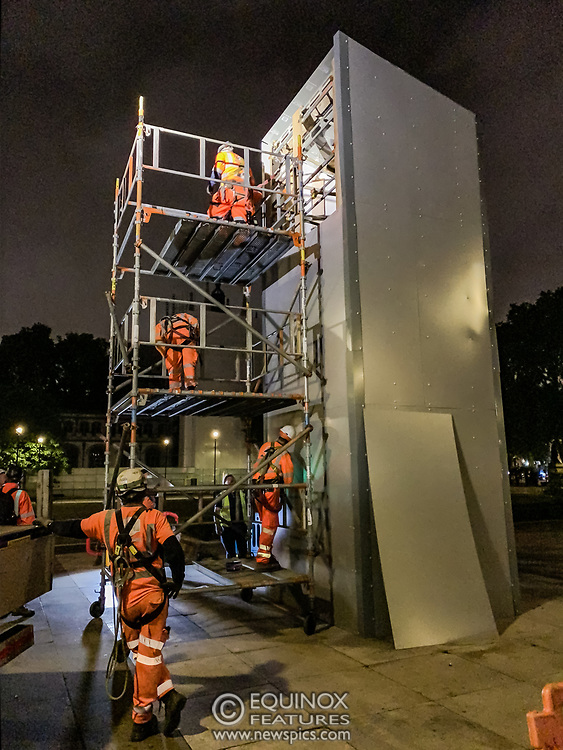London, United Kingdom - 12 June 2020<br /> Winston Churchill statue being covered in protective scaffolding and sheet metal following Black Lives Matter protests, Parliament Square, London, England, UK.<br /> (photo by: EQUINOXFEATURES.COM)<br /> Picture Data:<br /> Photographer: Equinox Features<br /> Copyright: ©2020 Equinox Licensing Ltd. +443700 780000<br /> Contact: Equinox Features<br /> Date Taken: 20200612<br /> Time Taken: 014956<br /> www.newspics.com