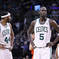 06 March 2012: Boston Celtics power forward Kevin Garnett (5) rests next to Boston Celtics power forward Chris Wilcox (44) during the Boston Celtics 97-92 (OT) victory over the Houston Rockets at the TD Garden, Boston, Massachusetts, USA.