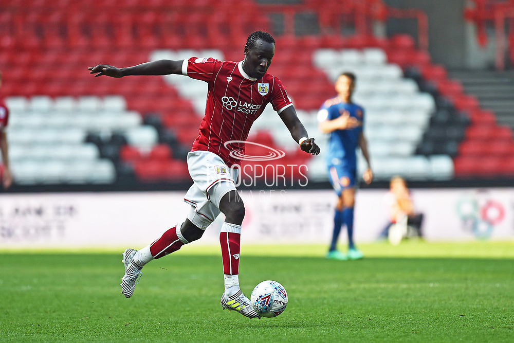 Famara Diedhiou (9) of Bristol City on the attack during the EFL Sky Bet Championship match between Bristol City and Hull City at Ashton Gate, Bristol, England on 21 April 2018. Picture by Graham Hunt.