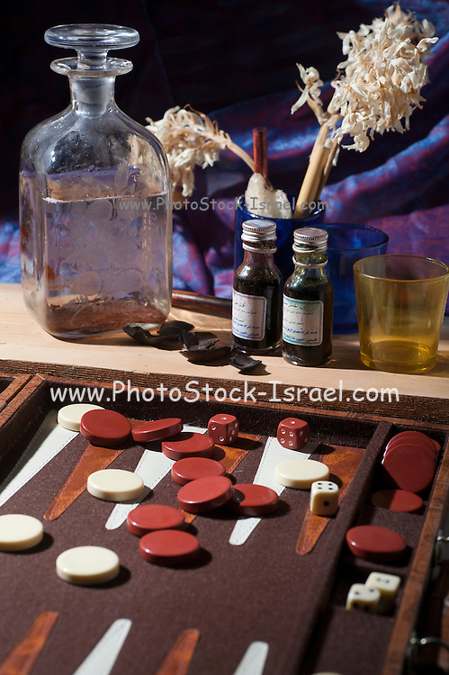 Still life with a backgammon game board