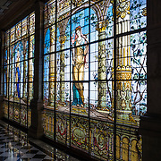 Stained glass window at Chapultepec Castle. Since construction first started around 1785, Chapultepec Castle has been a Military Academy, Imperial residence, Presidential home, observatory, and is now Mexico's National History Museum (Museo Nacional de Historia). It sits on top of Chapultepec Hill in the heart of Mexico City.