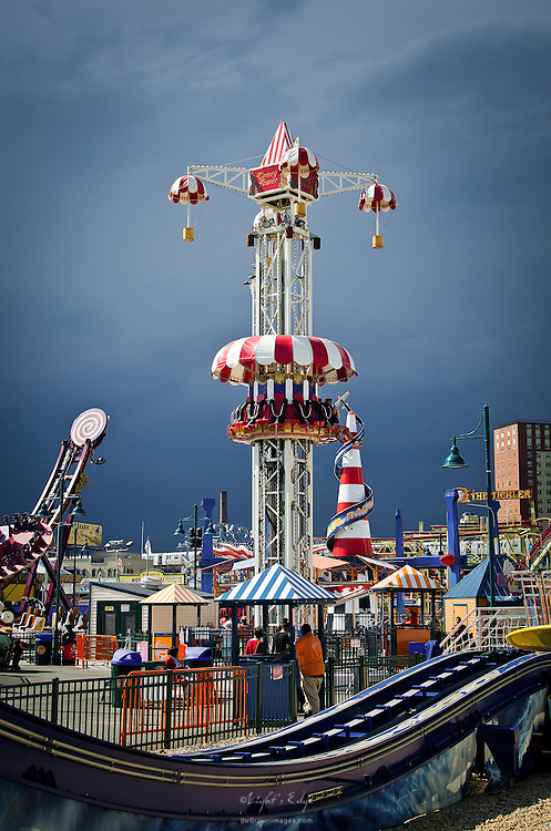 A view of Luna Park in Coney Island moments before a thunderstorm hit.