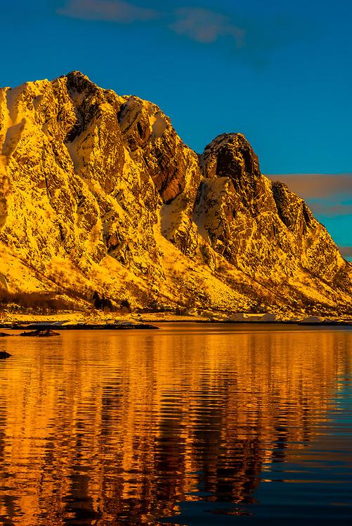 Mountains surrounding Svolvaer, on Austvagoya Island, Lofoten Islands, Arctic, Northern Norway.