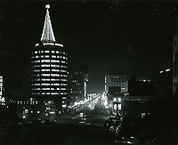 1964 Looking south on Vine St. towards Yucca St. at night